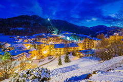 Night landscape of an Alpine Village Stock Images