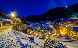 Night landscape of an Alpine Village Royalty Free Stock Photography