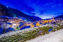 Night landscape of an Alpine Village Stock Photography