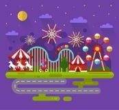 Night landscape of amusement park vector illustration
