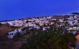 Night landscape Apollonia Sifnos Greece stock photography