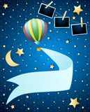 Night landscape with balloon, banner and photo frames. Vector illustration eps10 vector illustration