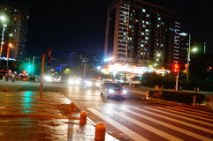 The night landscape of Baoan Avenue Royalty Free Stock Photography