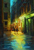 Night landscape in barcelona gothic quarter with the rain, paint Stock Photography