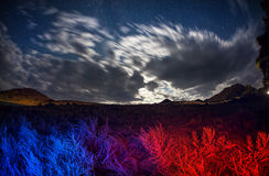Night landscape with blue and red field. Surreal landscape of night starry sky and field with blue and red color grass Stock Photo