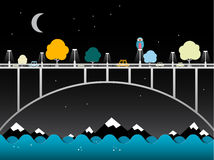 Night Landscape with Bridge Over Water. vector illustration