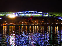 Night landscape. With bright lights and bridge Stock Photo
