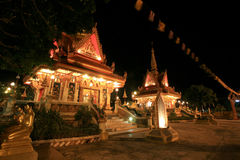 Night landscape of Buddhist shrine architecture Stock Photo