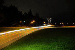 Night landscape with car light trails Stock Images