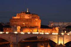 Night landscape with Castel Sant'Angelo in Rome - Italy Stock Photo