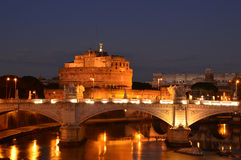 Night landscape with Castel Sant'Angelo in Rome - Italy Stock Images