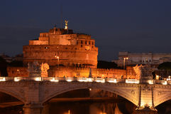 Night landscape with Castel Sant'Angelo in Rome - Italy Royalty Free Stock Photos