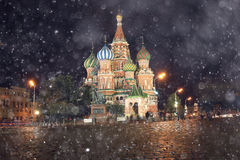 Night landscape in the center of Moscow Stock Photos