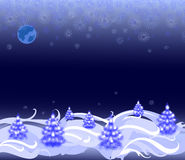 Night landscape with Christmas trees and snowflakes. EPS10  illustration Stock Images