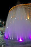 Colors, city night lights and water fountains Royalty Free Stock Photo