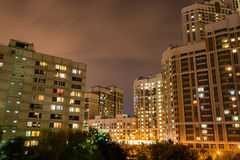 Night landscape of city quarter from a window Stock Photography