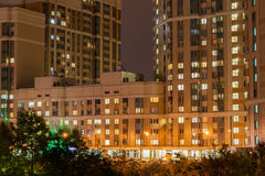 Night landscape of city quarter from a window Royalty Free Stock Photography