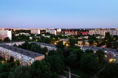 Night landscape of the city of Wroclaw, home from the height royalty free stock image