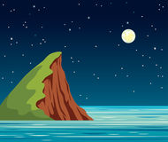 Night landscape, cliff - island, sky, star, sea. Night landscape with calm blue sea, cliff with green grass and starry sky with full moon. Vector summer royalty free illustration
