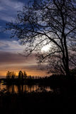 Night landscape and cloudy starry sky Stock Photography