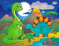 Night landscape with dinosaur theme 8 Royalty Free Stock Photo