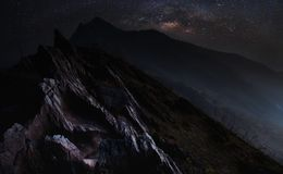 Doi Pha Tang. Night Landscape Doi Pha Tang with Milky way in Chiang Rai Province Thailand Royalty Free Stock Photography