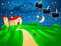 Night landscape with farm, starry sky and photo frames. Vector illustration eps10 royalty free illustration