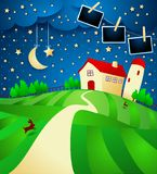 Night landscape with farm, starry sky and photo frames. Vector illustration eps10 stock illustration