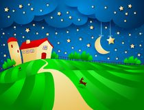 Night landscape with farm and starry sky Stock Photos