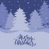 Night landscape with fir forest. Hand drawn calligraphy Merry Christmas lettering Stock Photo