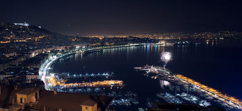 Night landscape with firework in Naples Royalty Free Stock Photo