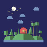 Night landscape flat style Royalty Free Stock Photo