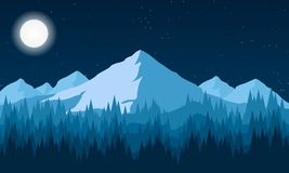 Night landscape of the forest and mountains Stock Photos