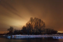 Night landscape in the frozen river. Stock Images