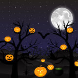 Night landscape in the full moon. Halloween Royalty Free Stock Images