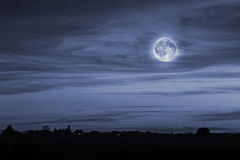 Night landscape with the full moon Stock Photography