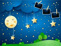 Night landscape with full moon and photo frames. Vector illustration eps10 vector illustration
