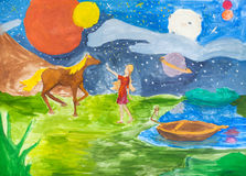 Night landscape with girl and horse on riverbank stock illustration