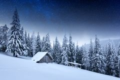 Night landscape glowing by milky way stock photos