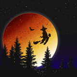 Night landscape Halloween. Night on Halloween. Witch on a broomstick flying over the forest Stock Photography