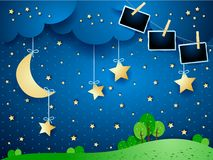 Night landscape with hanging moon and photo frames. Vector illustration eps10 stock illustration