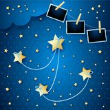 Night landscape with hanging stars and photo frames. Vector illustration eps10 stock illustration