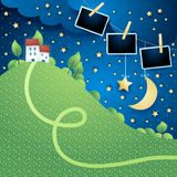 Night landscape with hill, village and photo frames. Vector illustration eps10 vector illustration