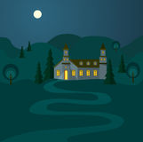 Night Landscape With Hospitable House. Illustration with illuminated house and pathway to open door. Bright full moon in the night sky and rolling hills around Royalty Free Stock Image