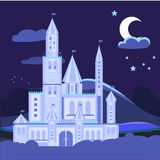 Night landscape illustration with castle Vector Stock Photography