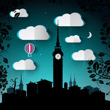 Night Landscape Illustration with City and Tower Royalty Free Stock Image