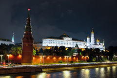 Night landscape with the image of the Moscow Moskva River embankment and the Kremlin Royalty Free Stock Images