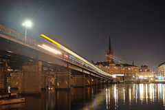 Night landscape with the image of Stockholm Stock Photos