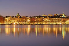 Night landscape with the image of Stockholm Royalty Free Stock Photos