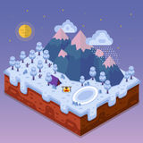Night landscape in isometric. Flat design nature winter landscape illustration with camping, lake, bonfire, mountains, moon, clouds, snowfall and forest. Night Royalty Free Stock Photos